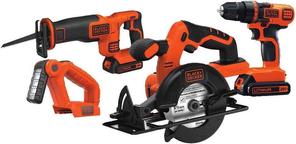 BLACK+DECKER 20V MAX Cordless Drill Combo Kit, 4-Tool (BD4KITCDCRL) - -