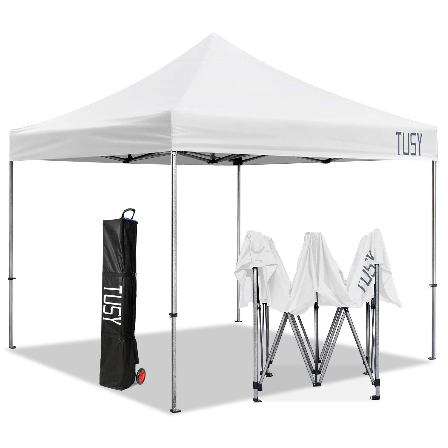 TUSY 10 x 10 Instant Shelter Pop up Canopy Tent, Commercial Canopies Outdoor Portable Shade with Heavy Duty Roller Bag, White