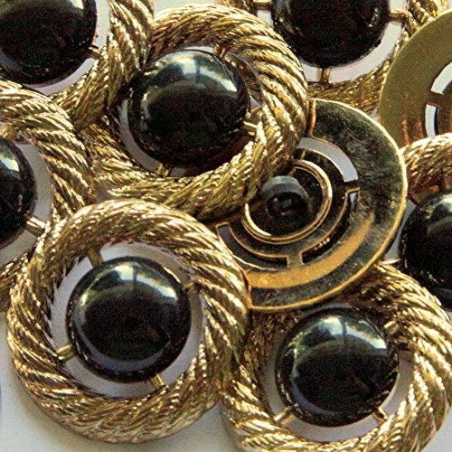 """Antique Black Jet - Fancy & Decorative {28mm w/ 1 Back Hole} 8 Pack of Large Size Round """"Popper Shank"""" Sewing & Craft Buttons Made of Plated Plastic w/ Antique Metallic Rope & Glossy Jet Center Design {Gold & Black}"""