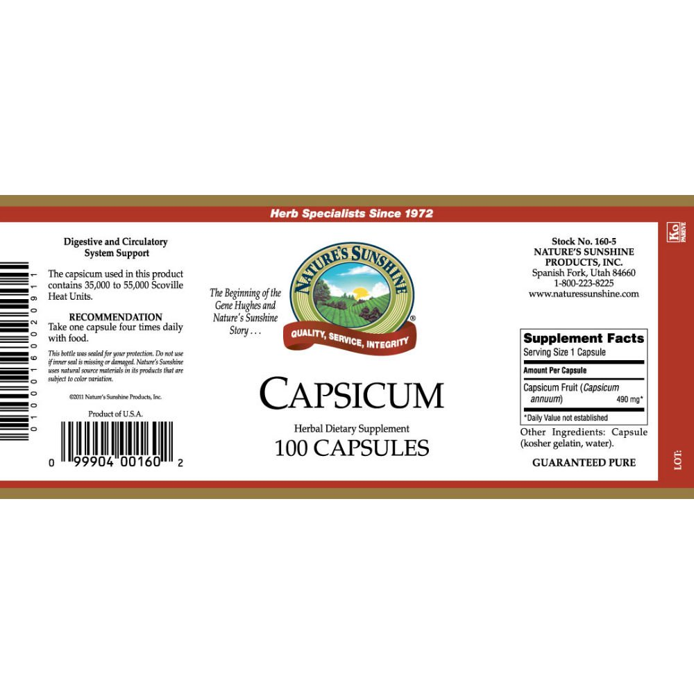 Nature's Sunshine Capsicum, 100 Capsules | Stimulates Digestion, Enhances Blood Flow, and Improves Circulation for Men and Women by Nature's Sunshine (Image #2)