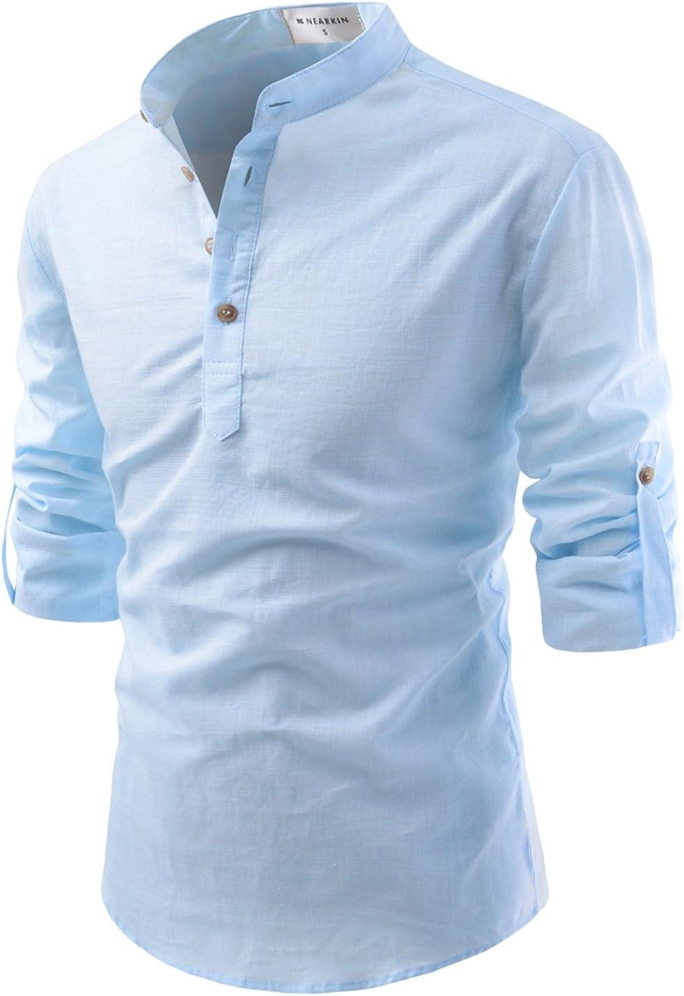 TheLees transformar enrollable funda mandarina Henley Cuello Ropa Camisas