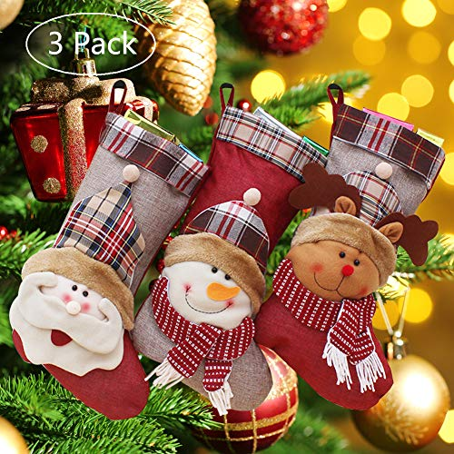 Onlykangfly Christmas Stocking, Christmas Decorations Party Ornaments Kits 18 inch Set of 3 Santa, Snowman, Reindeer, Xmas Character 3D Plush with Faux Fur Cuff for Kids Bag ()