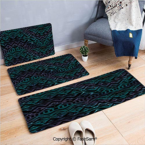 FashSam 3 Piece Non Slip Flannel Door Mat Hand Drawn Space and Cosmos Themed Arrow and Triangle Pattern Vintage Aztec Motifs Indoor Carpet for Bath Kitchen(W15.7xL23.6 by W19.6xL31.5 by W35.4xL62.9)