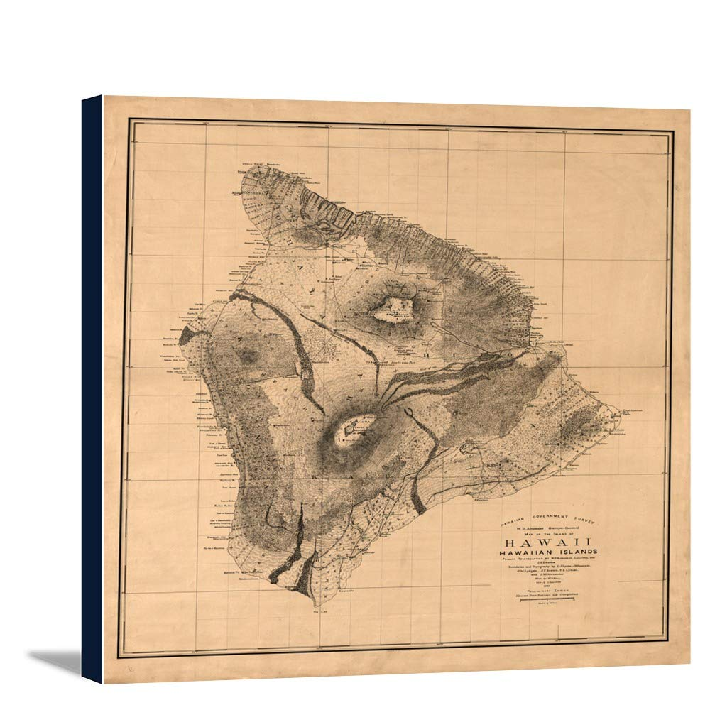 ハワイ島、ハワイパノラママップ – 1886 14 1/8 x 16 Gallery Canvas LANT-3P-SC-4410-16x24 14 1/8 x 16 Gallery Canvas  B018426W34