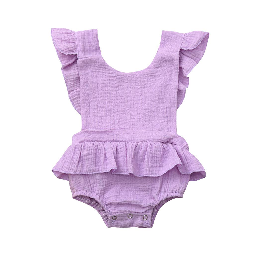 NUWFOR Newborn Infant Baby Girls Color Solid Ruffles Backcross Romper Bodysuit Outfits(Purple,0-6 Months)