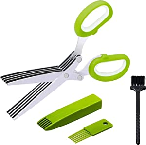 Herb Scissors Set With 5 Blades And Cover Shredding scissors Paper Food Salad Herb Multipurpose Kitchen Chopping Shear for Cutting Salad, Vegetables