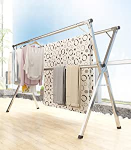 Vertical drying rack, indoor/outdoor/balcony stainless steel drying rack, installation-free + telescopic length + foldable + movable + high load-bearing