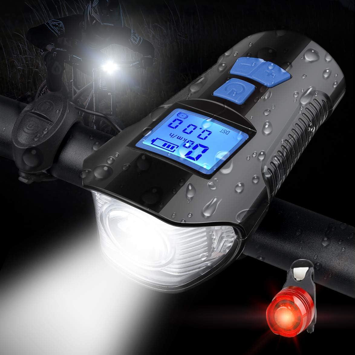 Bike Front Rear Tail Light USB Rechargeable MTB LED Headlight Horn Bell Odometer