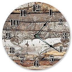 PotteLove 12 Vintage Rustic Log Cabin Wood Wall Clock Wooden Decorative Round Wall Clock