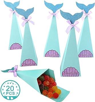 WENTS Cajas Regalo Sirena 20Pcs Caja Caramelos Bolsa de Regalo de Cumpleaños Fiesta DIY Manualidades Cajas para Infantiles de Sirena Decoración para Baby Shower Bodas Lazos: Amazon.es: Juguetes y juegos