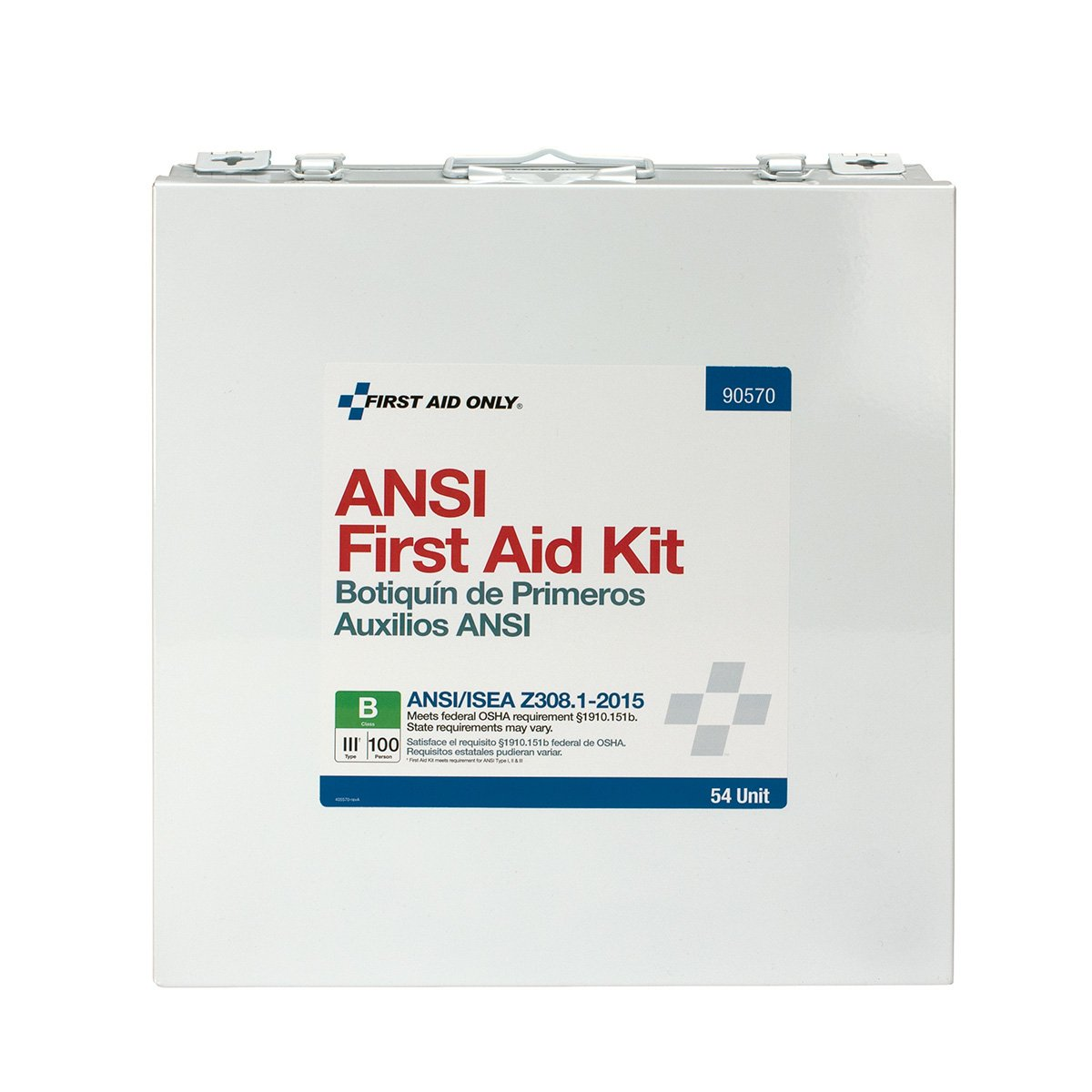 First Aid Only 90570 ANSI 2015 Compliant 54 Unit Class B First Aid Kit, Metal, Weatherproof