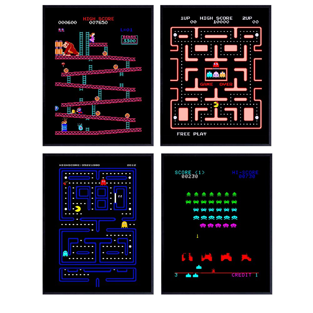 Classic Arcade Games Wall Art Decor Set - 8x10 Prints for Man Cave, Den, Family Room, Bar, Bedroom - Gift for Gamers, Video Game, Atari, Pacman, Ms Pacman, Donkey Kong, Space Invaders Fans