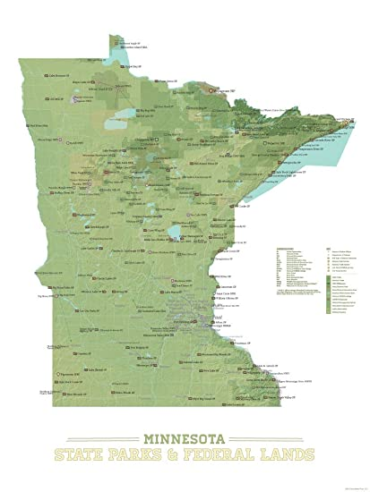 Amazon.com: Minnesota State Parks & Federal Lands Map 18x24 Poster ...