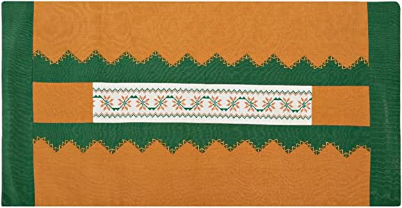 Turathna Cotton Charm Handmade Cross Stitch Saya Table Center Piece - Green And Orange