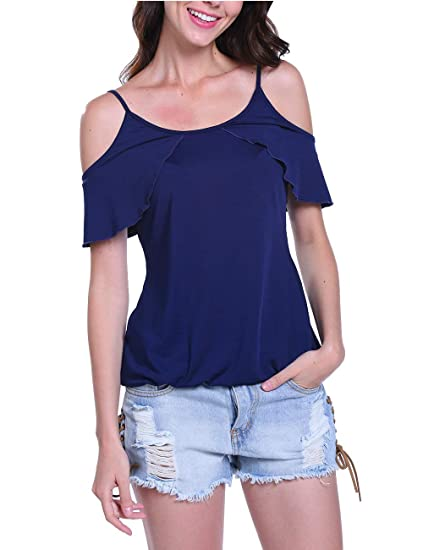 9b396d42ccef Peiqi Off The Shoulder Tops for Women Cold Shoulder Short Sleeve Ruffle  Casual Shirt Blouse Royal