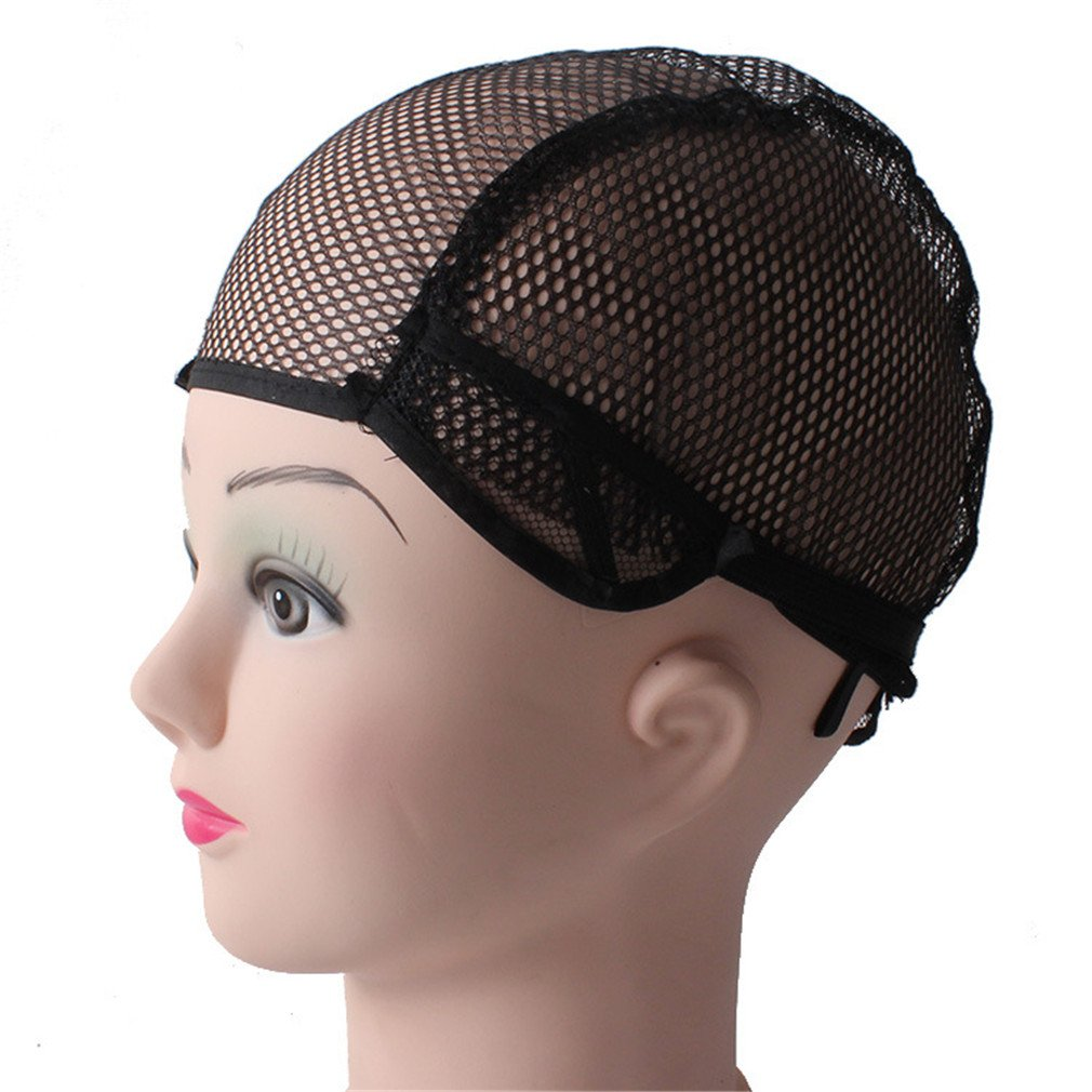 10Pcs Wig Cap Hairnet Adjustable Nylon Weaving Mesh Wig Caps With Lace Straps For Making Wig black 10PCS by HGNBH