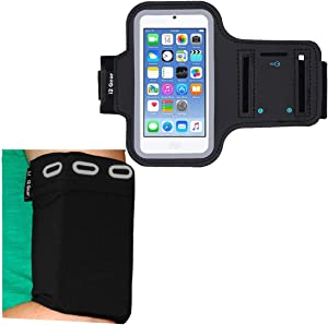 i2 Gear Running Armband for iPod Touch 7th, 6th and 5th Generation Bundled with Universal Elastic Phone Sleeve - Fits Arm Sizes 11 to 15 inches
