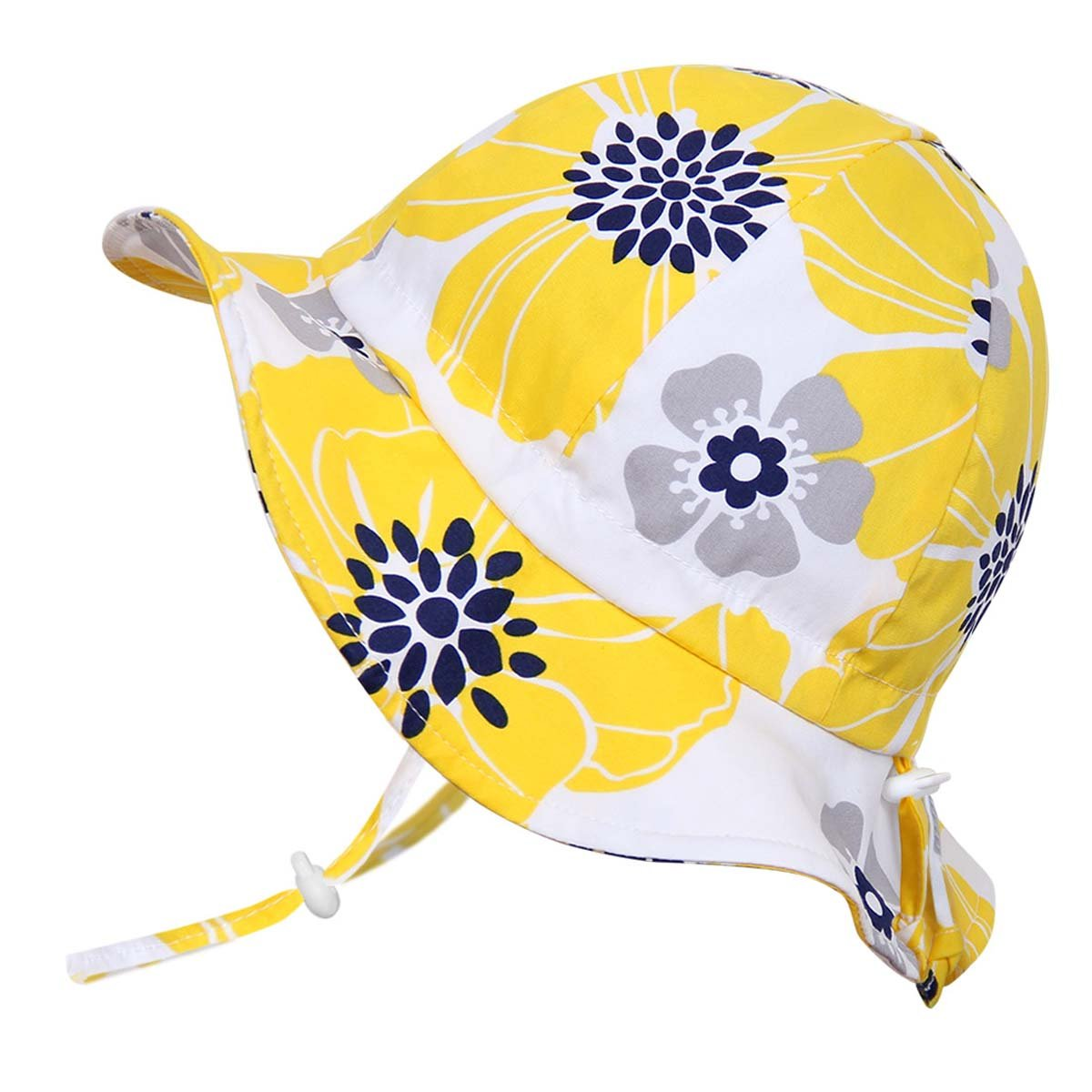Twinklebelle Children's Flower Cotton Sun Hats 50 UPF, Adjustable, Stay-On, Packable (L: 2-12Y, Floppy Hat: Yellow Flower)