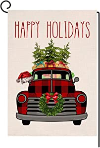 BLKWHT Happy Holiday Buffalo Truck Red Small Garden Flag Vertical Double Sided Christmas Burlap Yard Outdoor Decor 12.5 x 18 Inches (160822)