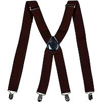35mm X-Shape Unisex Extra Wide Adjustable Elastic Mens Suspenders Clip On Braces Trouser