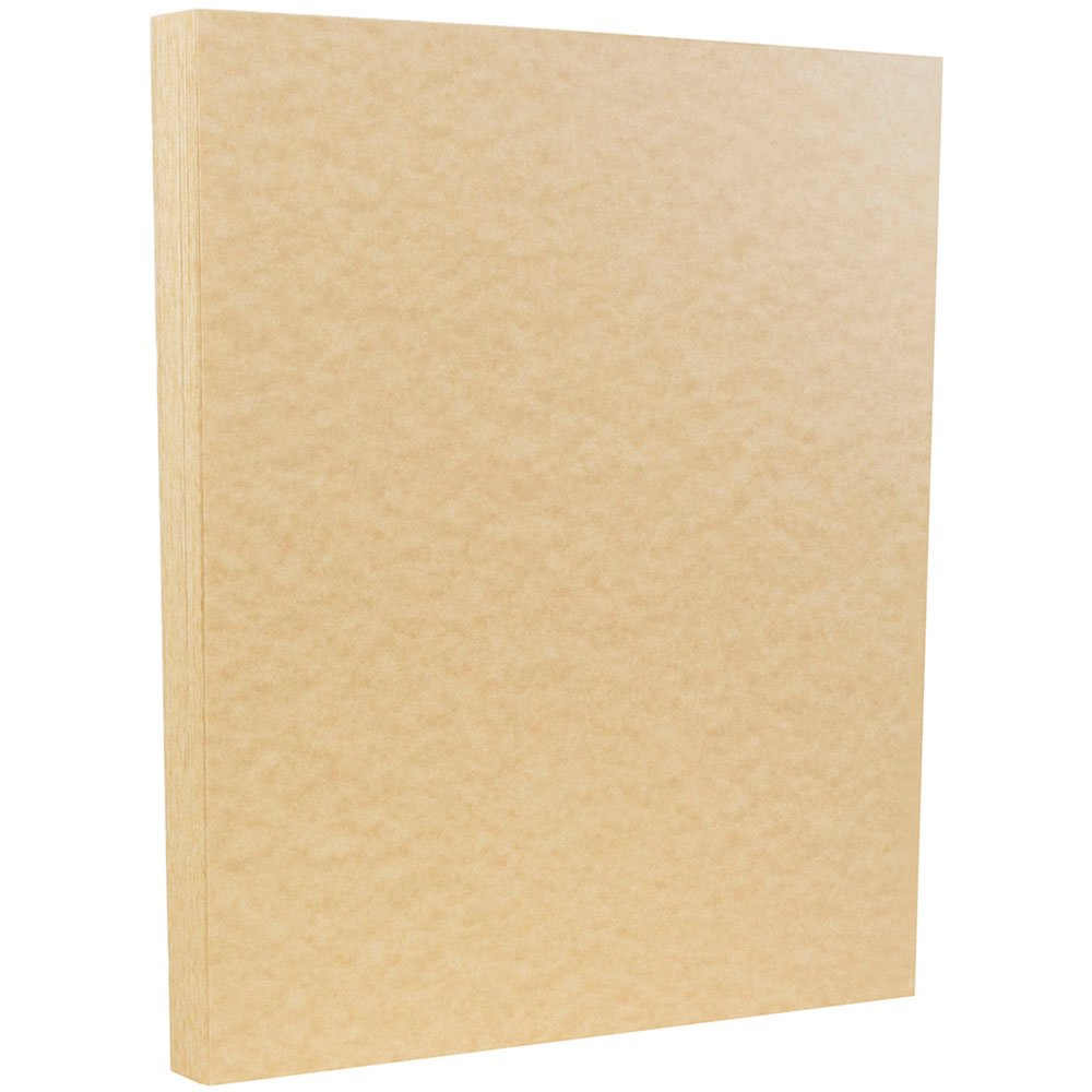 JAM PAPER Parchment 65lb Cardstock - 8.5 x 11 Coverstock - Brown Recycled - 50 Sheets/Pack
