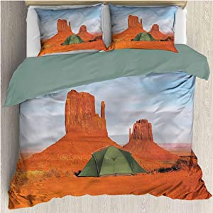 HELLOLEON Camper 3-Pack (1 Duvet Cover and 2 Pillowcases) Bedding Monument Valley in Utah USA Polyester (Queen)