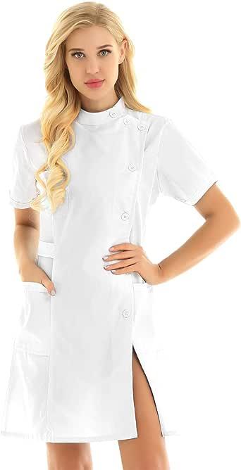 Freebily Bata de Trabajo para Peluquería Estética de SPA Uniforme Sanitario Empleados Profesional Elegante Casaca Ligero con Bolsillo Disfraces Adultos de Médico Enfermera: Amazon.es: Ropa y accesorios