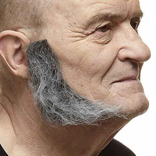 Mustaches Self Adhesive, Novelty, Realistic, L Shaped Fake Mutton Chops Sideburns, False Facial Hair, Costume Accessory for Adults, Salt and Pepper Color -