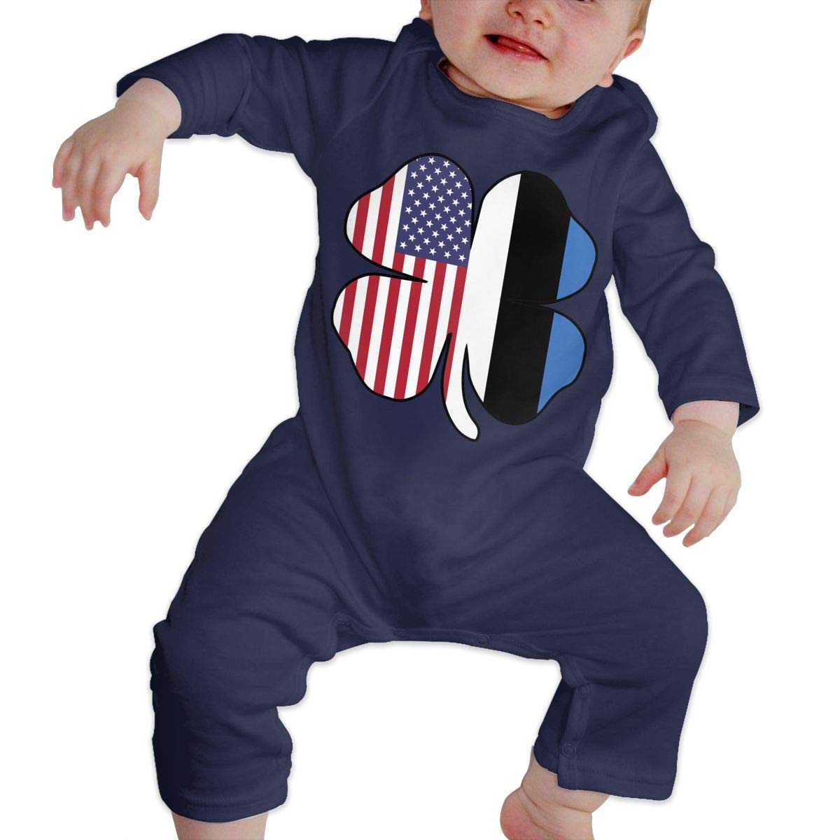 LBJQ8 American Estonian Flag Shamrock Baby Infant Girls Sleep and Play Romper Jumpsuit Bodysuit