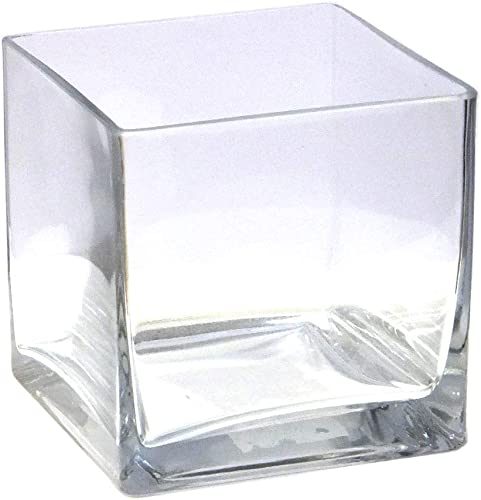 Vasefill 6-Pack Clear Square Glass Vase – Cube 5 Inch 5 X 5 X 5 – 6pc Six Vases 5x5x5