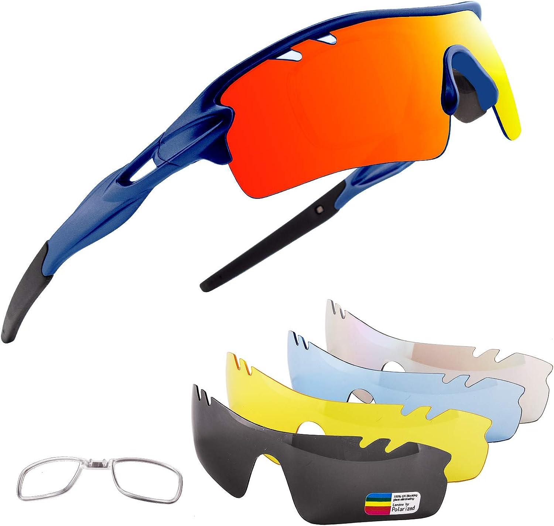 Xiyalai Polarized Sports Sunglasses with 5 Interchangeable Lenses,Mens Womens Cycling Glasses,Baseball Running