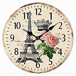 Telisha Wooden Wall Clock Paris French Eiffel Tower Rose Crown Clock Retro Vintage Large Clock Home Decorative Country Non -Ticking Silent Quiet 14 Inch Gift
