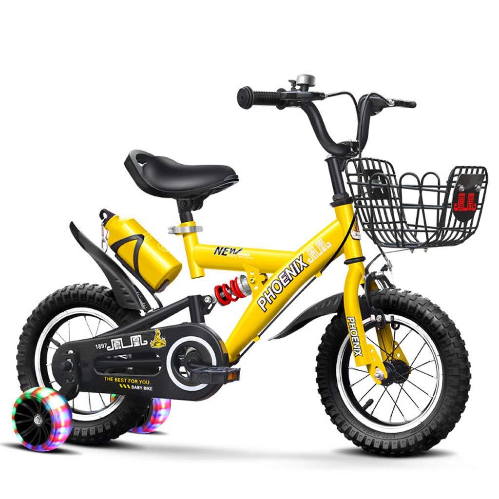 大人気の フリースタイルボーイズガールズキッズ子供子供自転車自転車3色、12、14、16 yellow、18 スタビライザー、ウォーターボトル B07PRTPFNJ、ホルダー付き、18 16in yellow A B07PRTPFNJ, ヒルズファーム:b06f49dc --- senas.4x4.lt