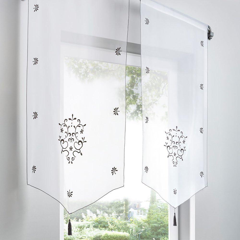 Urijk 2 Panneaux Rideau de Fen/être Voilage Rideau Court Transparent D/écoration de Fen/être pour Chambre Cuisine Salon