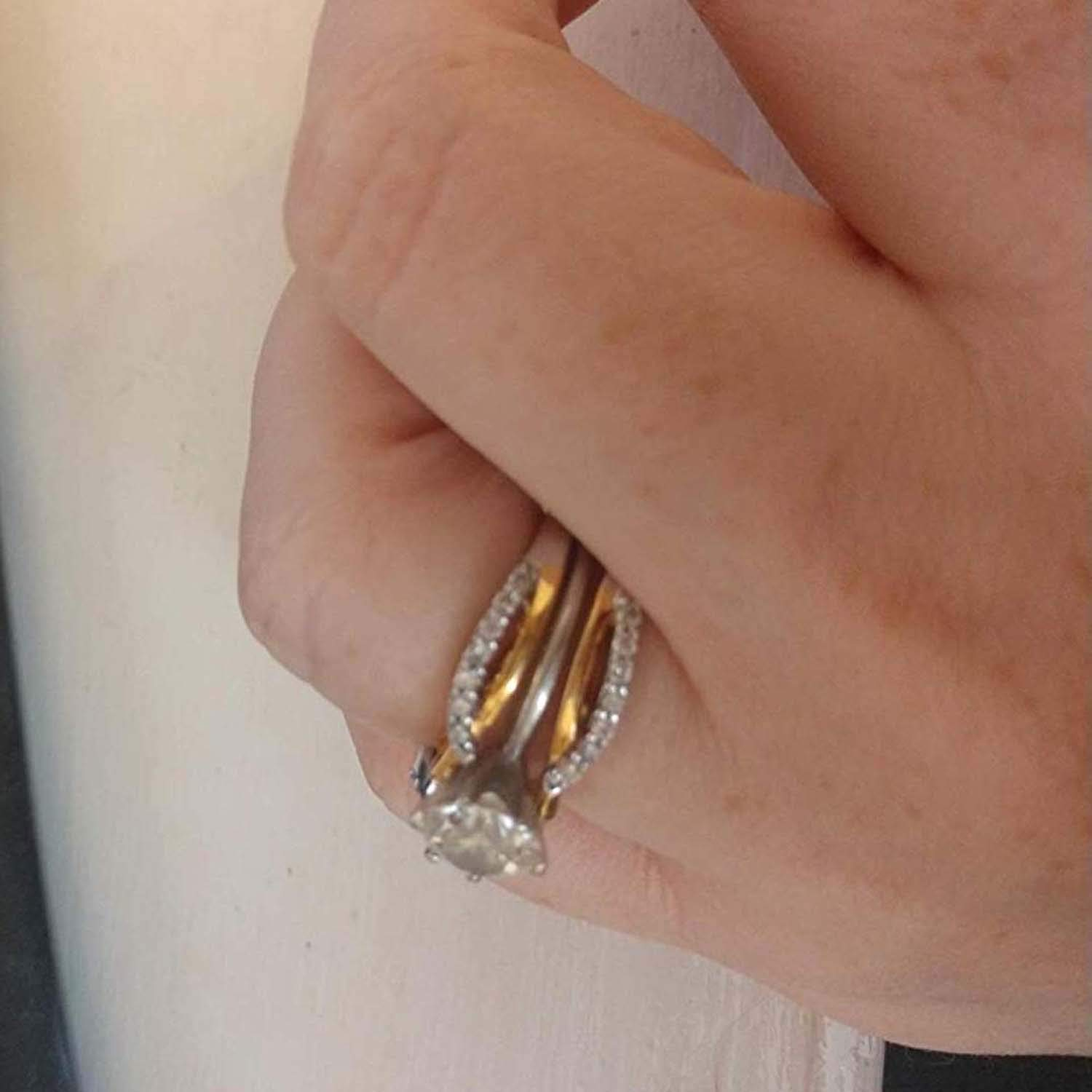 Silver Gems Factory 1//4 ct Simulated Diamond Enhancer Solitaire Engagement Ring 14k Two Tone Gold Plated Guard Wrap Jacket