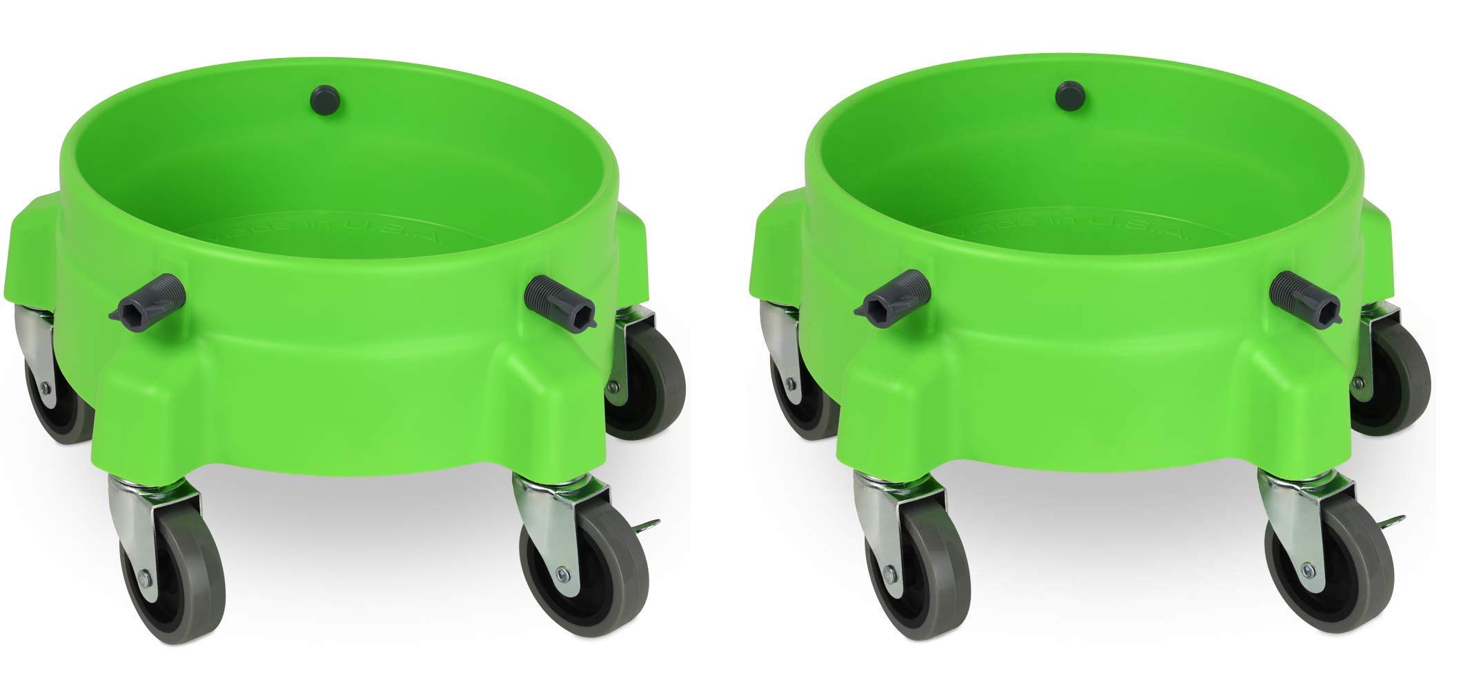 Liquid X Original Bucket Dolly - Lime Green with 3'' Gray Casters (Set of 2 Dollies)