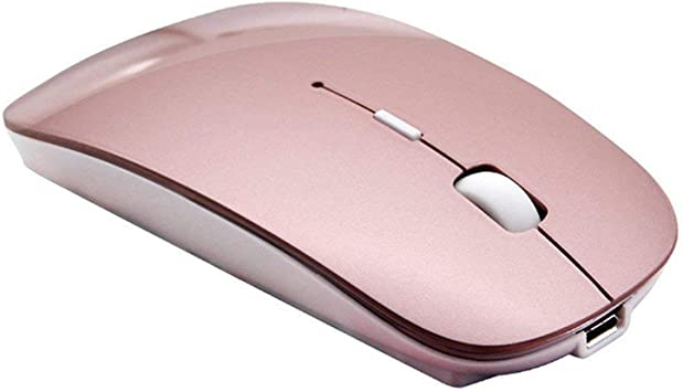 Ratón inalámbrico Bluetooth,SUAVER Ratón Óptico Ultra-Delgado Portátil Recargable Wireless Mouse para PC,Mac,Macbook,iMac,Laptop,Tablet,1600/1200/800 ...