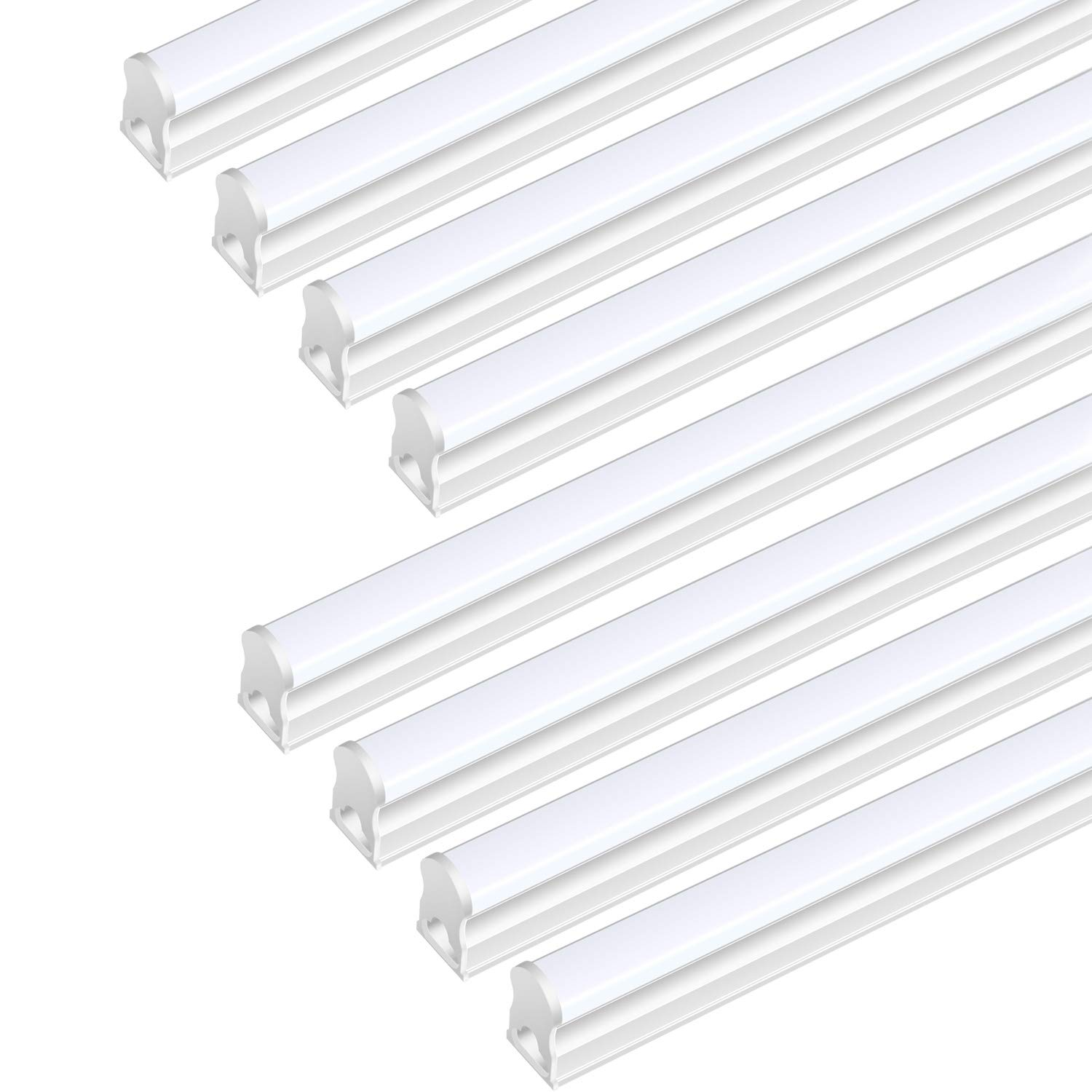 (Pack Of 8) DIKAIDA T5 Led Integrated Single Fixture, 4FT, 2000lm, 6500K(Super Bright White), 20W, Led Shop Lights with built-in On/Off Switch for Garage, Storage Area, Basement, Under Cabinet, Office