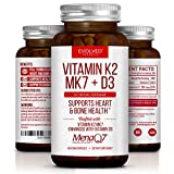 Premium Extra Strength Vitamin K2 with D3 – Vitamin D3 K2 MK7 Supplement for Healthy Bones, Healthy Heart & Cardiovascular Health- 60 Small and Easy to Swallow Caps MenaQ7 180 mcg & Vitamin D3 5000 IU