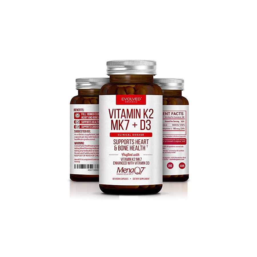 Extra Strength Vitamin K2 Supplement 180mcg Vitamin k2 Supplement Supports Bone & Heart Health for Cardiovascular Calcium Absorption 60 Easy to Swallow Vegan caps of Vitamin K2 MK10