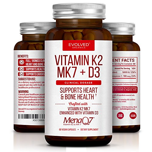 Premium Extra Strength Vitamin K2 with D3 – Vitamin D3 K2 MK7 Supplement for Healthy Bones, Healthy Heart & Cardiovascular Health- 60 Small and Easy to Swallow Caps MenaQ7 180 mcg & Vitamin D3 5000 IU (Vitamin D3 Mk7)