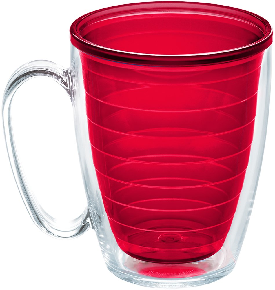Tervis 1224224 Clear & Colorful Insulated Tumbler 16oz Mug, Red