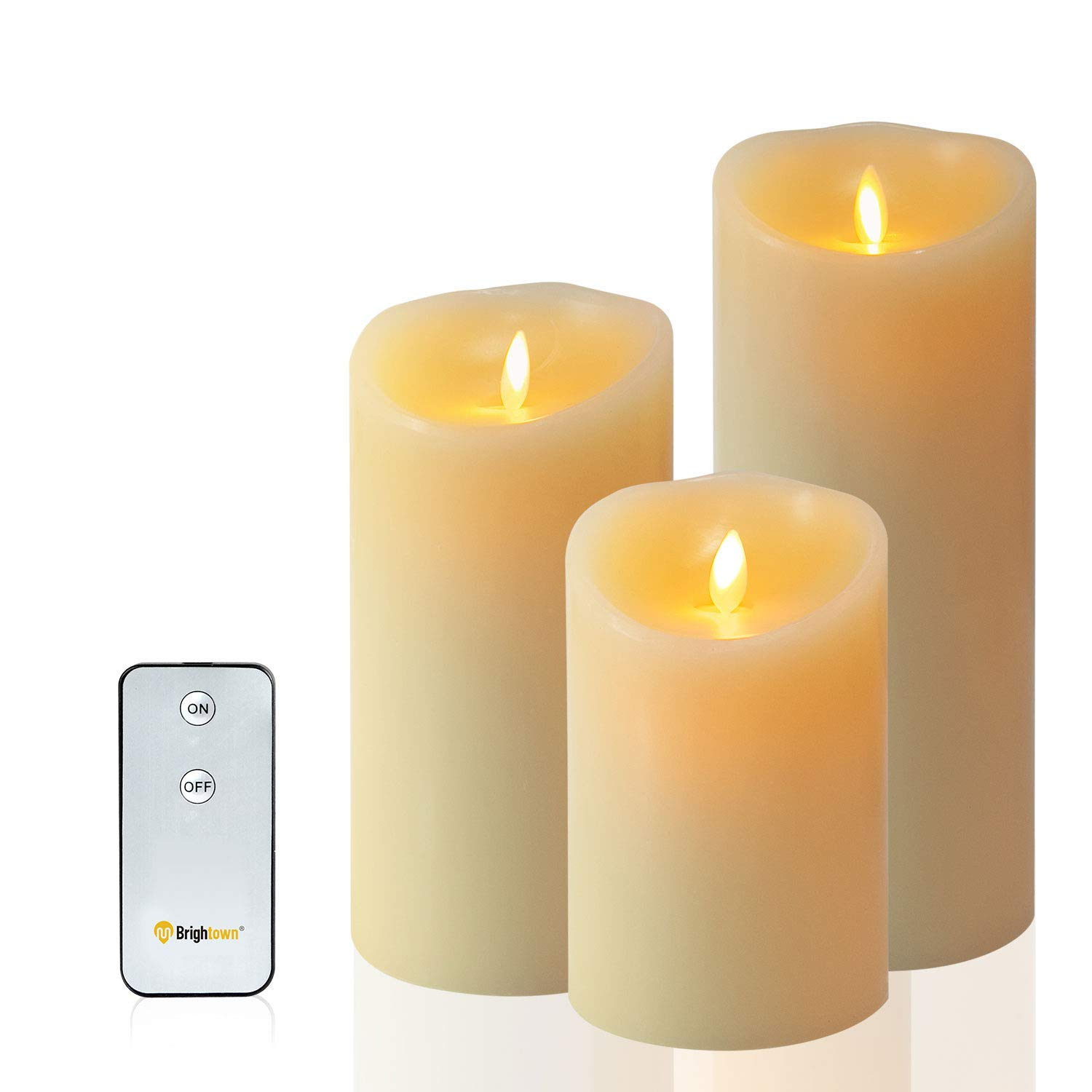 Flameless Candles, LED Battery Operated Pillar Real Wax Flickering Candle with Remote and Timer for Birthday Party Christmas Decoration Set of 3,3.5-Inch by 5/7/9-Inch by Brightown