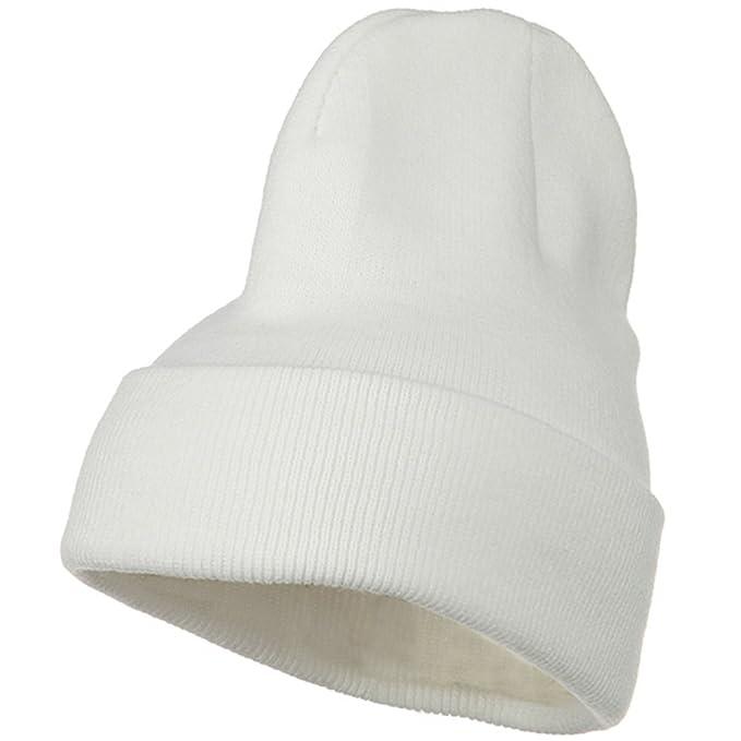 66f3236d2b6 Big Stretch Plain Cuff Long Beanie - White (for Big Head) at Amazon Men s  Clothing store  Skull Caps