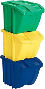 Suncast BH183PK Stackable Recycling Bin Containers & Lids, Multicolored (3 Pack)