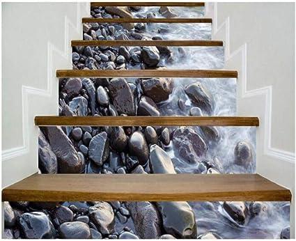 JY ART T 6PC 100 * 18cm Escaleras Escalera Pegatinas Patrón de PVC 3D Piedras y riachuelo Espesan Etiquetas Autoadhesivas multifunción para la Pared de Suelo Impermeable, 18cm*100cm*6pcs: Amazon.es: Hogar