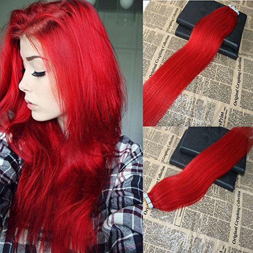 20'' 20pcs/50g Tape on Hair Extensions Virgin Brazilian Human Hair Extensions Red color Thick Ends Tape in Real Remy Human Hair Extensions Skin Weft PU Tape Hair Extensions Full Head