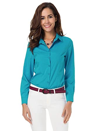 77b0817eda5a Womens Basic Long Sleeve Button Down Shirts Simple Pullover Stretch Formal  Casual Shirt at Amazon Women's Clothing store: