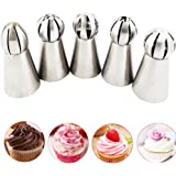 Bestgle 5 PCS Russian Tulip Ruffle Icing Piping Nozzles Tips Set, Sphere Ball Russian Tips Stainless Steel, Pastry Cake Fondant Cupcake Buttercream DIY Decor Baking Tool