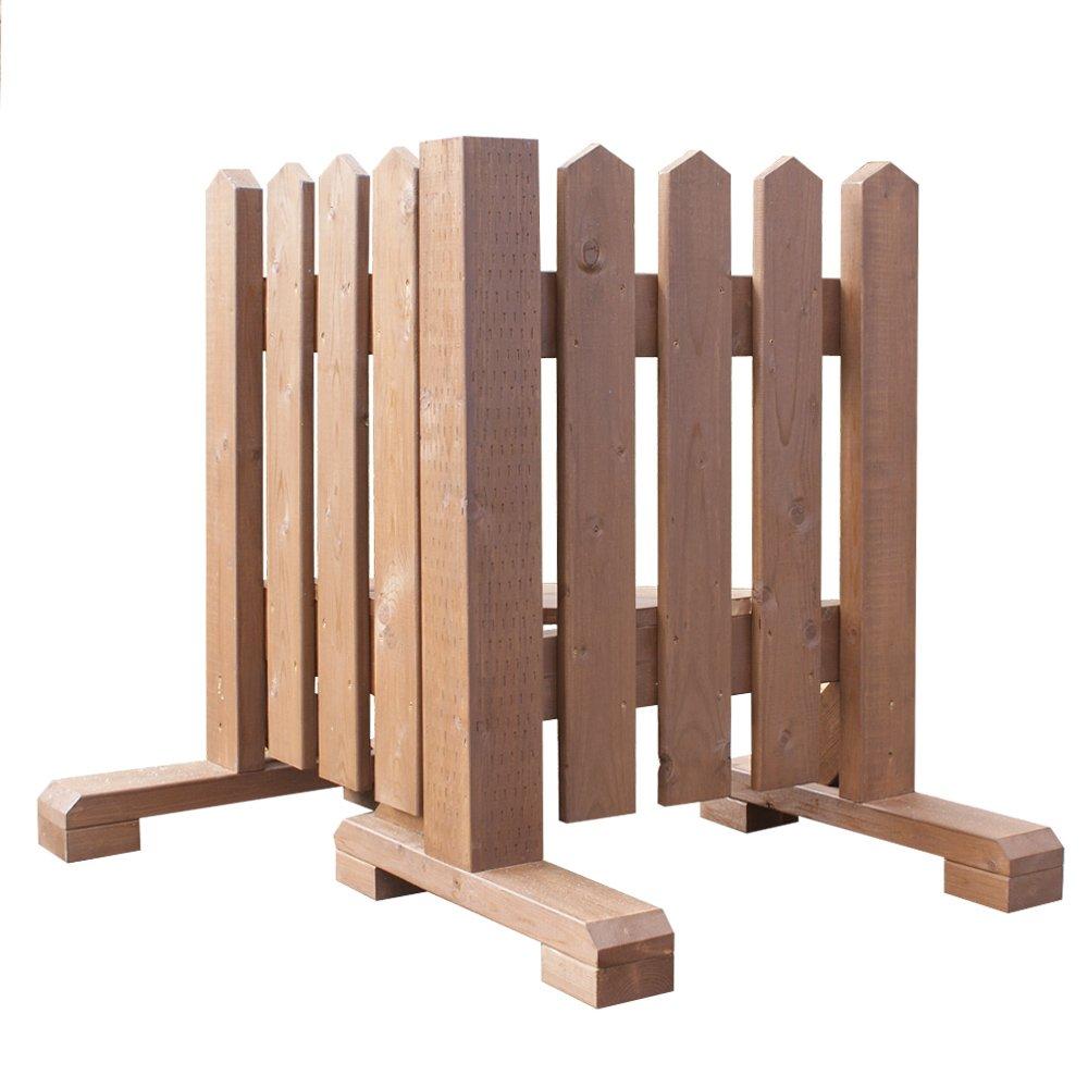 木製 ピケットフェンスコーナー型 -ブラウン- 【受注製作品】 (幅90cm) 犬 目隠し 屋外 飛び出し防止 柵 ガード さく 木製フェンス ゲート B07DLTPLTT